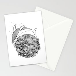 Crying whale Stationery Cards