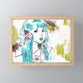 Roses and Pearls - Turquoise Palette  Framed Mini Art Print