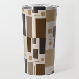 Retro Squares in Browns and Golds Travel Mug