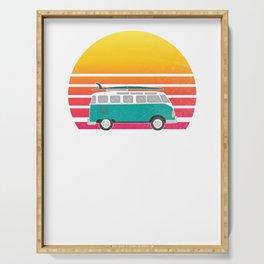Encinitas Retro Sunset Surfing Hippie Van Graphic Serving Tray
