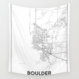 Minimal City Maps - Map Of Boulder, Colorado, United States Wall Tapestry