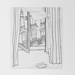 Window View in France  //  ink drawing Throw Blanket