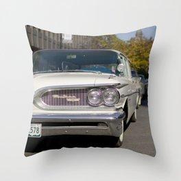 Vintage white Pontiac Throw Pillow