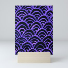 Handpainted Scallops Mermaid Scales Purple Black Mini Art Print