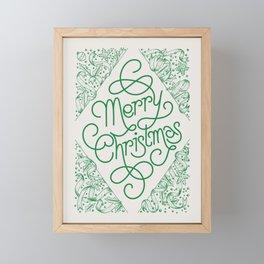 Classic Merry Christmas / GREEN Framed Mini Art Print