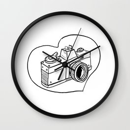 Vintage 35mm SLR Camera Heart Drawing Wall Clock