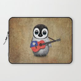 Baby Penguin Playing Taiwanese Flag Guitar Laptop Sleeve