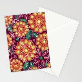 Retro Flowers on Dark Pink Stationery Cards