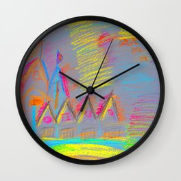 Colorful Village | Kids Painting Wall Clock
