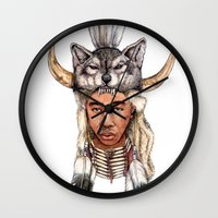 tyler the creator Wall Clocks featuring WOLF / Tyler, The Creator by Daniel Cash