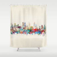 istanbul Shower Curtains featuring Istanbul skyline by bri.buckley
