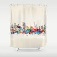 skyline Shower Curtains featuring Istanbul skyline by bri.buckley