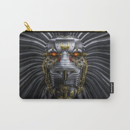Hear Me Roar / 3D render of serious metallic robot lion Carry-All Pouch