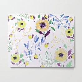 yellow floral pattern Metal Print
