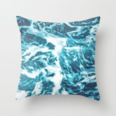 Tropical Turquoise Waves Throw Pillow