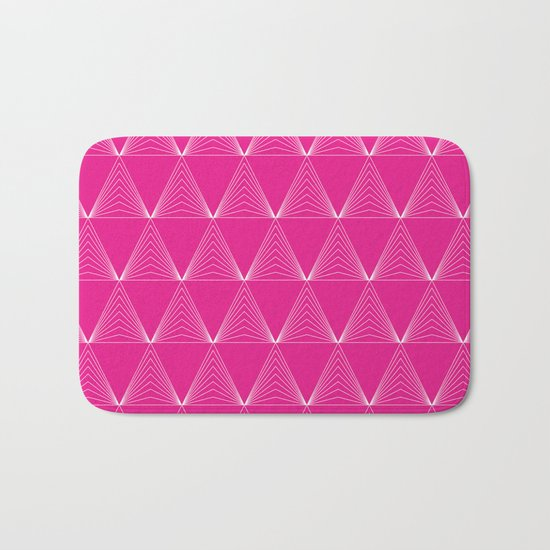 Simple Geometric Triangle Pattern- White on Pink - Mix & Match with Simplicity of life Bath Mat