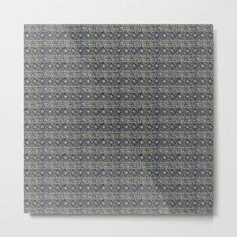 African Tribal Blockprint // Navy & Eggshell Metal Print