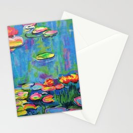 Waterlilies in Neon Stationery Cards