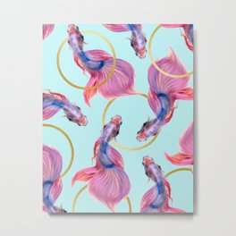 HullaHoops, Eclectic Colorful Fish Graphic Design, Animals Gold Rings Surrealism Quirky Metal Print