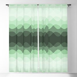 Pastel Mint Green Overlapping Wavy Line Pattern Pairs to Coloro 2020 Color of the Year Neo Mint Blackout Curtain