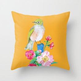 The Silvereye on Tuscan Yellow Throw Pillow