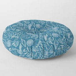 Sea Life - Marine Blue Floor Pillow