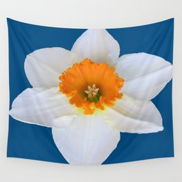 DECORATIVE ORANGE CENTERED WHITE DAFFODIL TEAL ART Wall Tapestry