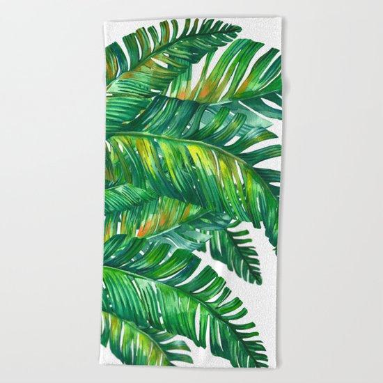 tropical green 2 Beach Towel