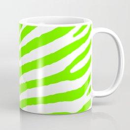Neon Green and White Tropical Zebra Safari Stripes Coffee Mug