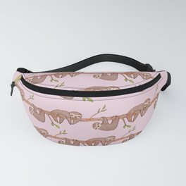 Lazy Baby Sloth Pattern in Pink Fanny Pack
