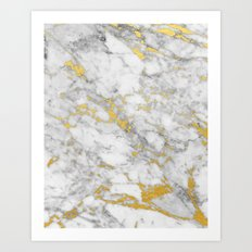 Gold Flecked Marble Art Print