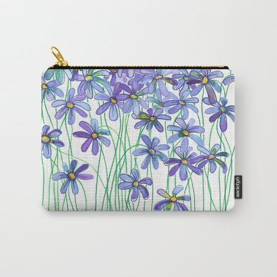 Purple Daisies in Watercolor & Colored Pencil Carry-All Pouch