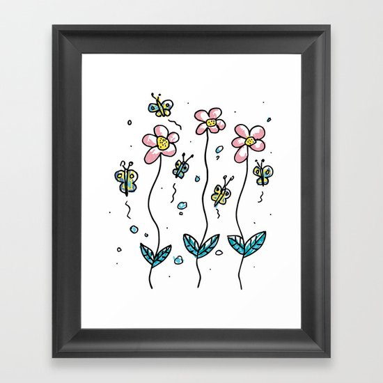 minimal flower Framed Art Print