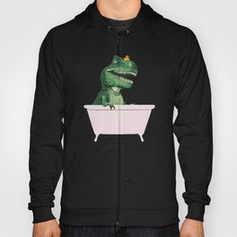 Playful T-Rex in Bathtub in Green Hoody