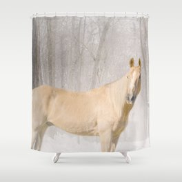 Champ in the snow Shower Curtain