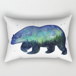 Polar Bear Silhouette with Northern Lights Galaxy Rectangular Pillow