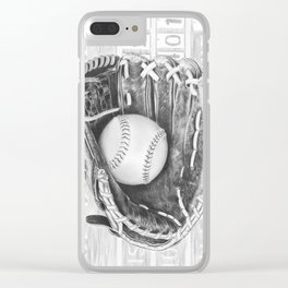Softball (black and white) Clear iPhone Case