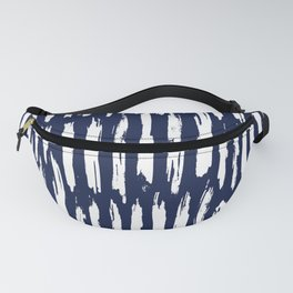 Vertical Dash White on Navy Blue Paint Stripes Fanny Pack