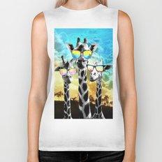 Crazy Cool Giraffe Biker Tank