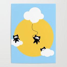 Ninja cats in the sky Poster