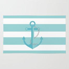 AFE Nautical Aqua Ship Anchor Rug