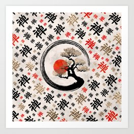 Enso Circle Bonsai Tree on Zen Symbol pattern Art Print