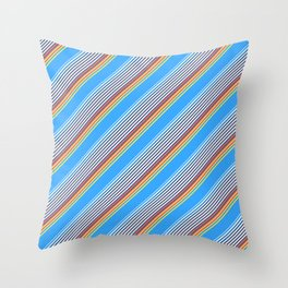 Summer Inclined Stripes Throw Pillow