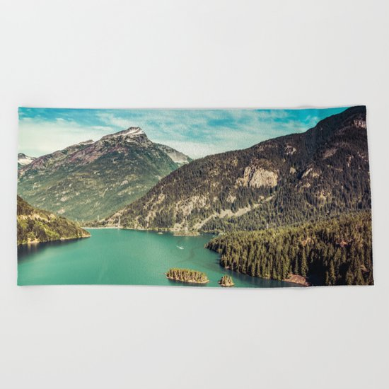 Lake Diablo - Blue and Green Water and Trees Beach Towel