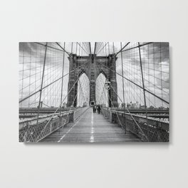 Brooklyn Bridge, New York City (rustic black & white) Metal Print