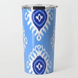 IKAT pattern 02, blue Travel Mug