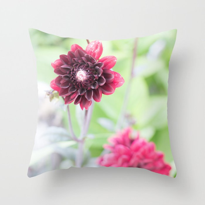Burgundy Dawn Dahlia Throw Pillow