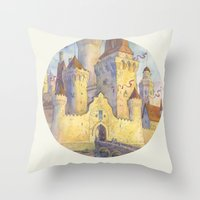castle Throw Pillows featuring Castle by Kasheva