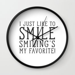 Smiling's My Favorite - Buddy The Elf, Christmas Movie Quote Wall Clock