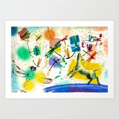 Dragonflies and dog Art Print